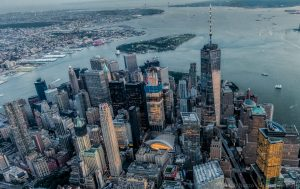 The New York City skyline as seen from within. Click on the image to see it larger.